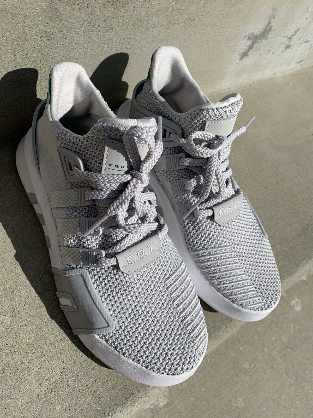 Adidas EQT Bask ADV Mens CQ 2362 Grey Sub Green Knit Athletic shoes Size 7