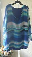 Cha Cha Vente Kimono Sleeve Poncho Blue Strip Chiffon Tunic Plus Size 3X NWOT$68