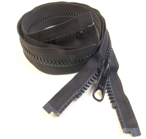 Zipper, 72 Inch, YKK, Vislon, Black, #8, Separating, Double Metal Tab Slider