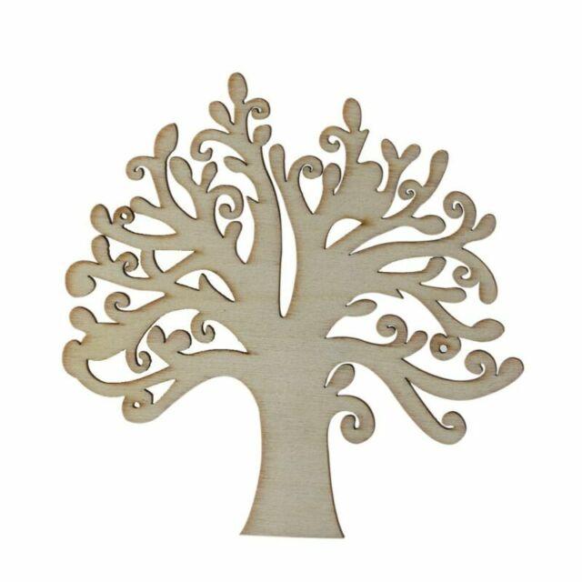 10pcs Hollow Tree Shape Laser Cut Wooden Craft Blank Family Tree Decoupage