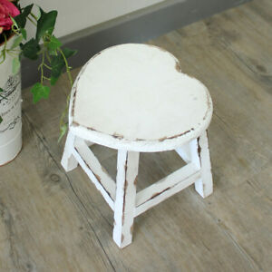 Details about Small white painted wooden heart stool shabby french chic  country girl\'s bedroom
