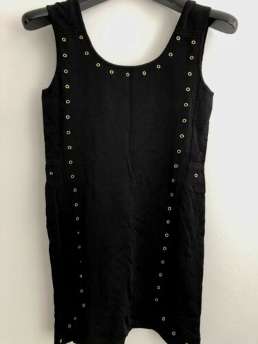 VERSACE WOMAN BLACK DRESS WITH GOLD ACCESSORIES,10