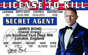 James Daniel License Plastic Novelty Drivers Ebay Collectors Craig To Card Bond Kill