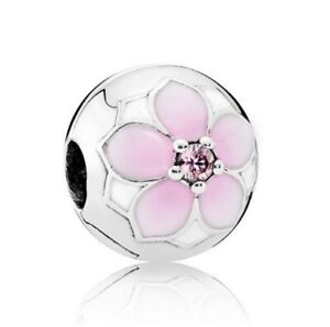 925-Sterling-Magnolia-Bloom-Cerise-Clip-fit-European-Charm-Bead-bracelet