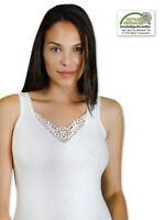2 bis 10 Damen Hemden mit Spitze Unterhemden 100% Baumwolle - Breite Träger