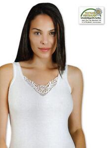 2 À 10 Femmes Chemise avec Dentelle Maillots de Corps 100% Coton - Largeur