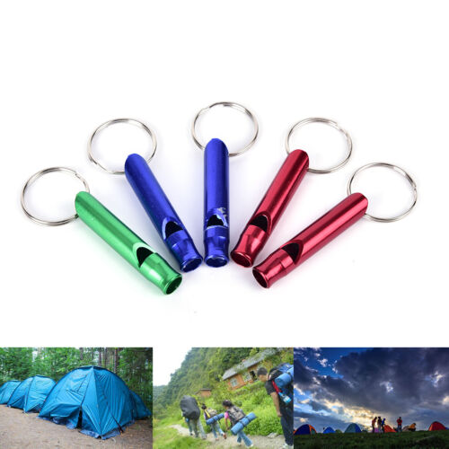 5X Alloy Aluminum Emergency Survival Whistle Outdoor Camping Hiking Keychain BE