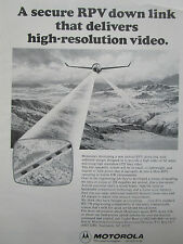 12/1976 PUB MOTOROLA DRONE TACTICAL RPV HIGH RESOLUTION VIDEO ORIGINAL AD
