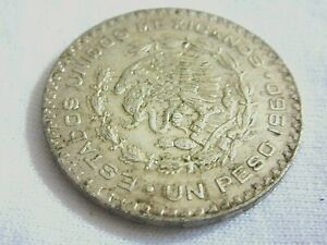 1960 ESTADOS UNIDOS MEXICANOS- UN PESO...SILVER ( .100)  #D.8/2