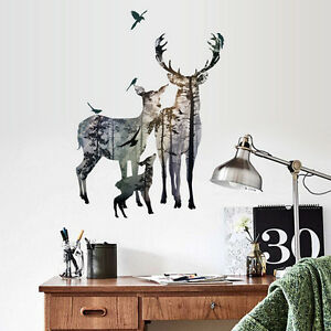 Image Is Loading Removable Deer Forest Wall Stickers Decals Art Mural