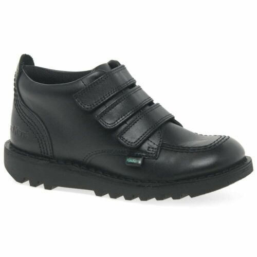 Kickers Kick 3 Strap Black Leather Boys School Shoes