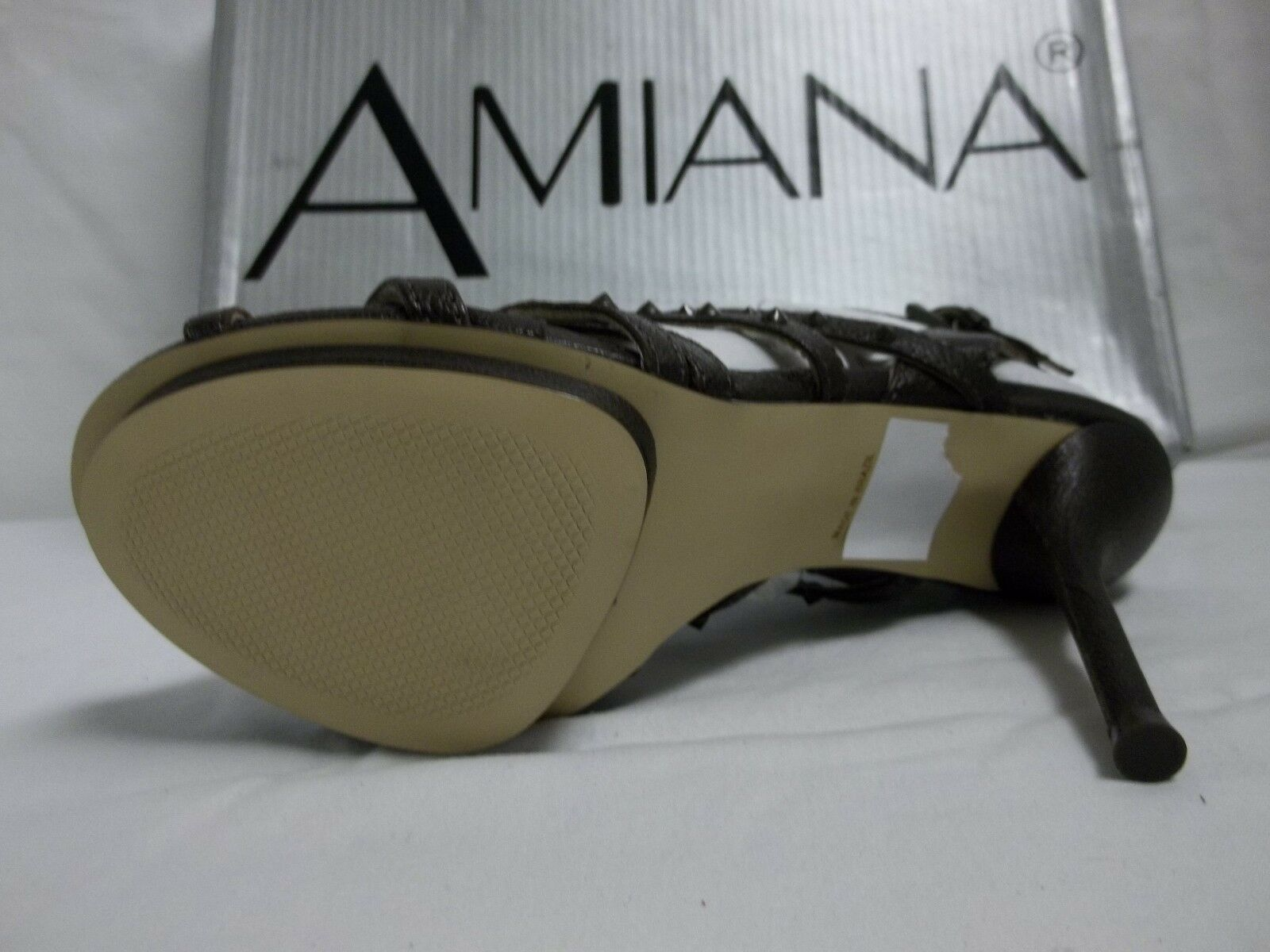 Amiana Größe 7 M Bisonte Dark Coffee Leder Open Heels Toe Heels Open New Damenschuhe Schuhes 4bcbb1