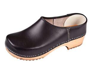 Wooden clogs Black color close ZF1 Swedish style . US Shoe Size ... cfefa8156