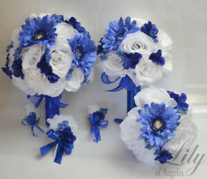 17 piece package wedding bridal bouquet silk flowers royal blue image is loading 17 piece package wedding bridal bouquet silk flowers mightylinksfo