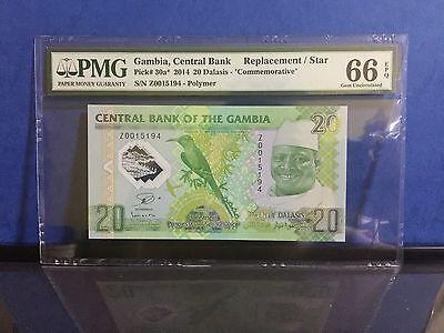 GAMBIA 20 DALASIS 2014 POLYMER COMM P 30 SUPERB GEM PMG 67 UNC EPQ