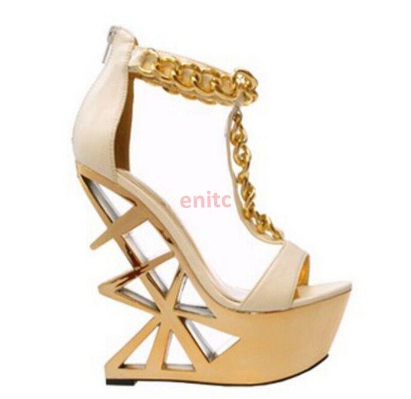 Vogue Women's Hollow Out High Heel Wedge Peep Toe T-strap Sandals Platform shoes