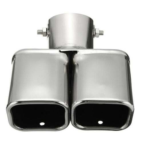 Universal Silver Chrome Exhaust Tip Bent Dual Steel Pipe 35-60mm Car Muffler End