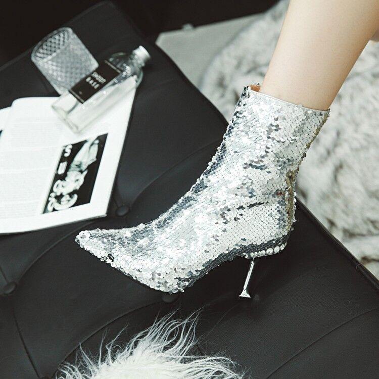 Femme Sexy Paillettes Stilettos Talons Hauts Chaussures De Soirée Bottines Taille Plus
