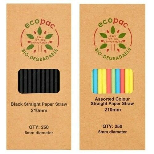 250 X PAPER Drinking STRAWS biodegradable environmentally eco friendly Cocktail