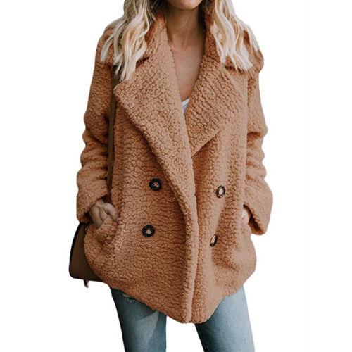 Ladies Teddy Bear Fleece Faxu Fur Laple Blazer Coat Winter Warm Cardigan Jacket