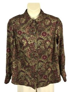 Womens-CJ-Banks-Button-Down-Blouse-Plus-Size-1X-Multi-Color-Paisley-Print-L-S