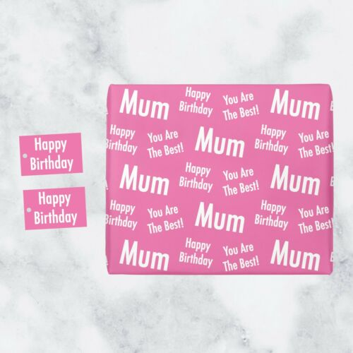 1 Sheet /& 2 Tags Mum Birthday Gift Wrapping Paper /& Gift Tags Urban Colour