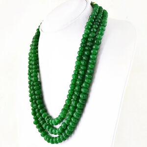 560.00 Cts Earth Mined 3 Line Green Emerald Oval Shape Beads Necklace NK 21E34
