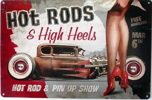 HOT-RODS-amp-HIGH-HEELS-GARAGE-SIGN-with-an-aged-look-Auto-Memorabilia-Metal-Sign