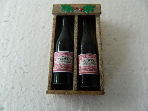 Casa delle Bambole Fatte a Mano Scatola in legno con 2 x bottiglie vin brulè CF.19 vuoto