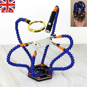 LED Torch Six Helping Third Hands Flexible Arm Soldering Station Tool Clamp