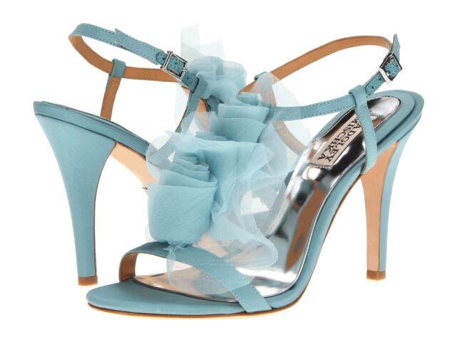 NIB Badgley Mischka CISSY Wedding Bridal heel sandals strap rosette shoes Blue 9
