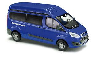 Busch-52501-Ford-Transit-Custom-High-Roof-Blue-Car-Model-1-87-H0