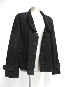 Gorgeous-vintage-leather-jacket-by-Jock-black-suede-80-039-s-styling-50-XL-52-034-Bust