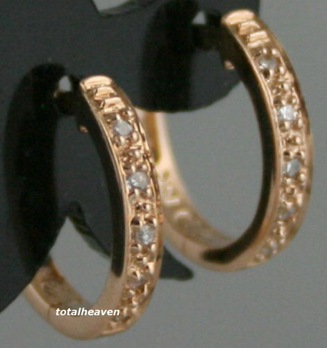 1.45g Solid 14K PINK ROSE Gold Genuine Diamonds Huggies Hoop Earrings 12mm