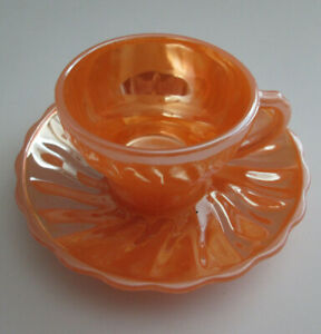 Vintage-Fire-King-Demitasse-Shell-Peach-Lustre-Cup-and-Saucer-Small-Tea-Coffee