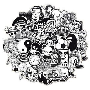 Mix-Lot-50Pcs-Noir-Blanc-Autocollants-Skateboard-Graffiti-Laptop-Bagage-Voiture-Decal