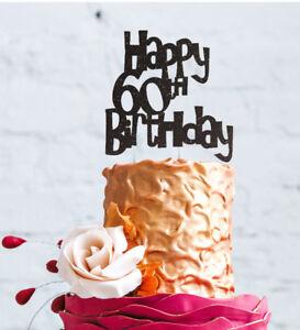 Fine Happy 60Th Birthday Cake Topper Glittery Black 60 Cake Topper Funny Birthday Cards Online Elaedamsfinfo
