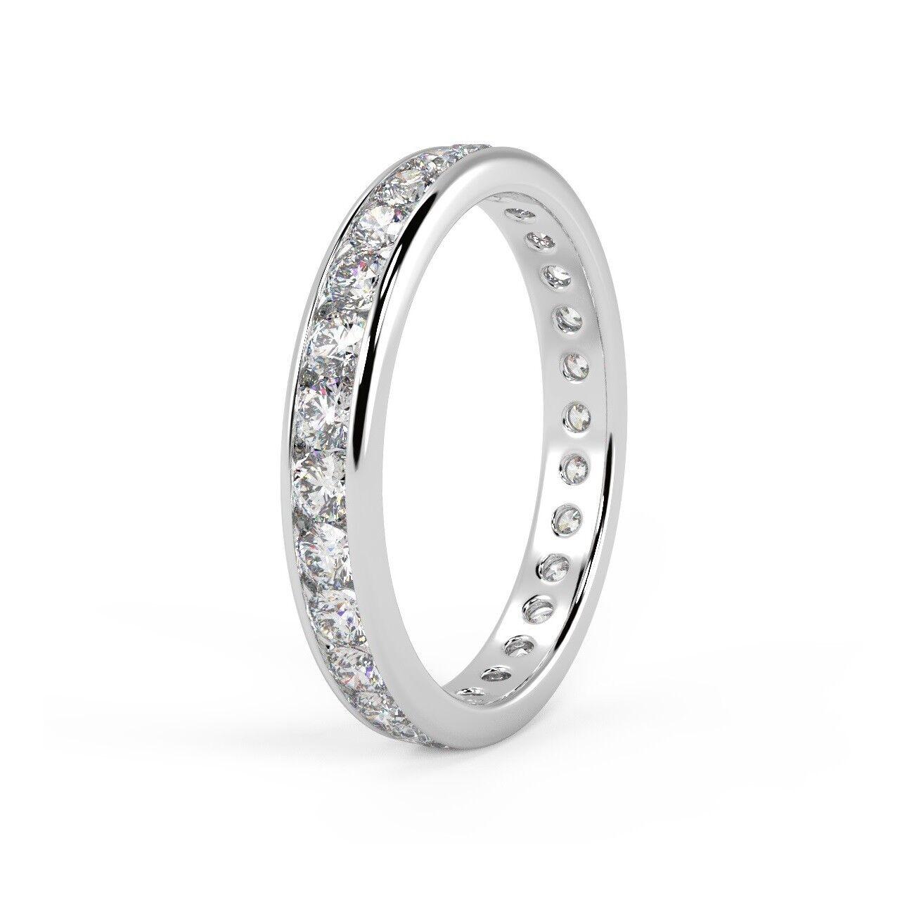 F VS 1.50 Ct Round Diamond Channel Set Full Eternity Ring, Hallmarked Platinum