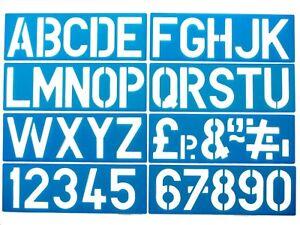 RéAliste Alphabet Pochoirs Majuscules 0-9 Chiffres Signe écrit Pack De 8 100 Mm-afficher Le Titre D'origine Effet éVident