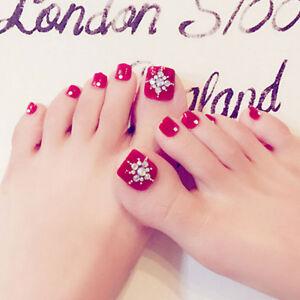 24pcs Pro Foot False Nail Tips Rhinestone Fake Toes Nails With Glue