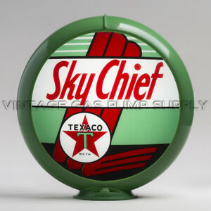 "Gas Pump Globe Texaco Sky Chief 13.5"" w/ Green Plastic Body (G196)"