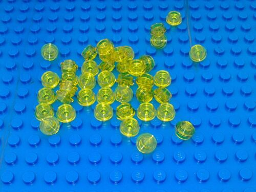 NEW LEGO 100 x TrYellow TRANSLUCENT YELLOW 1x1 ROUND PLATE 4073 TOWN MOC