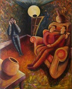 VERY-LARGE-UNUSUAL-ORIGINAL-OIL-PAINTING-ON-CANVAS-THREE-MEN-IN-A-SITTING-ROOM