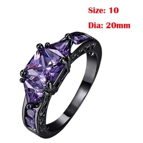Gift Jewelry Cubic Zironia Ring Black Gold Filled Crystal Amethyst Sapphire