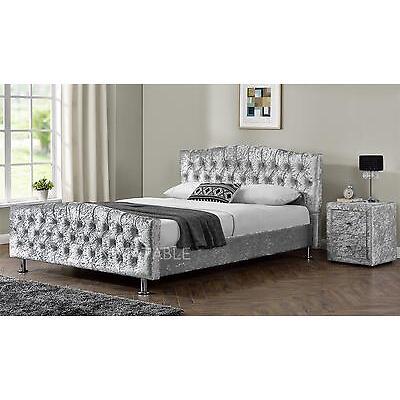 Velvet Linen Chesterfield  Fabric Bed Frame Double King Size Bedroom