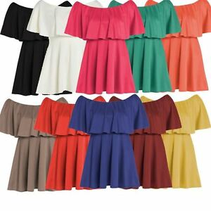 New-Womens-Off-Shoulder-Peplum-Frill-Ponte-Skater-Dress-8-22