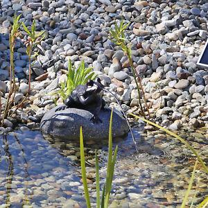 set frosch wasserspeier teichfigur figur mit solar pumpe f r teich gartenteich ebay