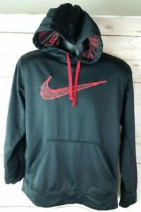 bb4d8cc1774a Nike KO Swoosh Camo Hoodie Black   Red Pullover Sweatshirt Therma ...