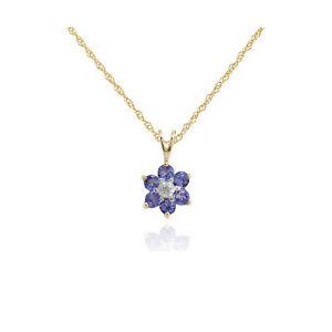 Gemondo-9ct-Oro-Amarillo-0-48ct-Tanzanita-y-Diamante-Colgante-Floral-en-45cm-Cadena