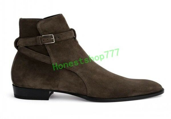 European Mens Buckle Suede Leather Pointy Toe Ankle Boots Chelsea Shoes C8 hot